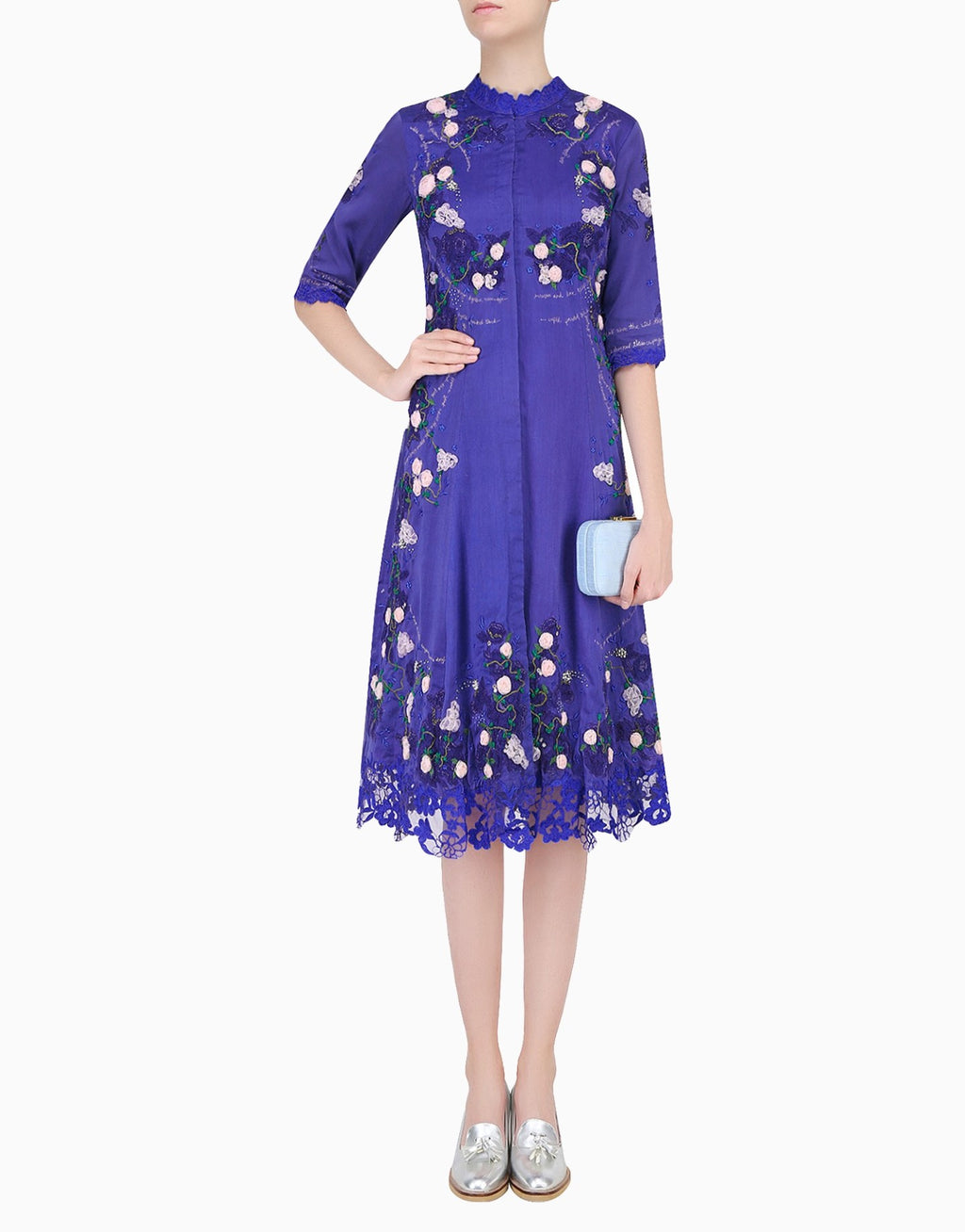 ABHISHEK VERMAA NAVY TEA ROSE TUNIC