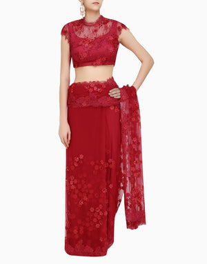 Abhishek Vermaa - Red Lace Embroidered Saree - INDIASPOPUP.COM