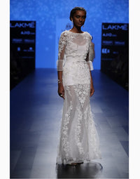 Agt By Amit Gt - White Embroidered Gown - INDIASPOPUP.COM