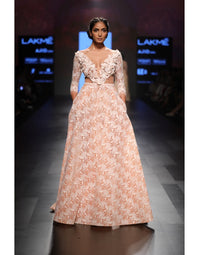 Agt By Amit Gt - Peach Semi Ball Gown - INDIASPOPUP.COM
