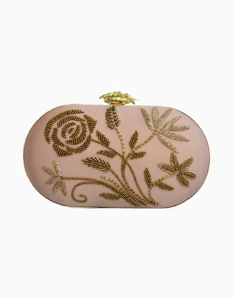 Rusaru - Bianca Blush Pink Embroidered Clutch - INDIASPOPUP.COM