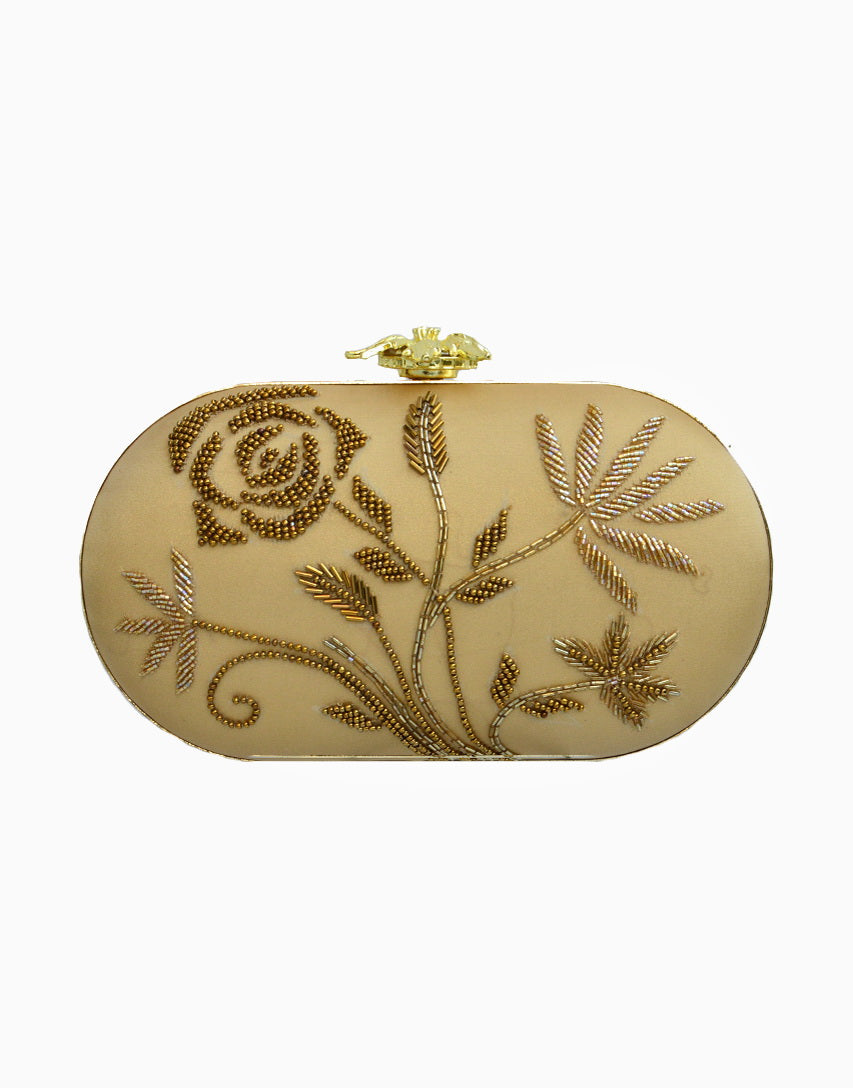 Rusaru - Bianca Gold Embroidered Clutch - INDIASPOPUP.COM