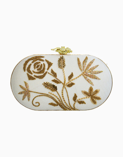 Bianca Ivory Embroidered Clutch