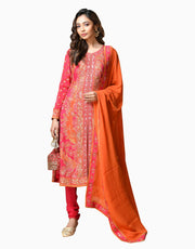 Ri.Ritu Kumar - Orange & Fuchsia Kurta With Churidar - INDIASPOPUP.COM