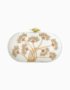 Rusaru - Dandelion Ivory Embroidered Clutch - INDIASPOPUP.COM