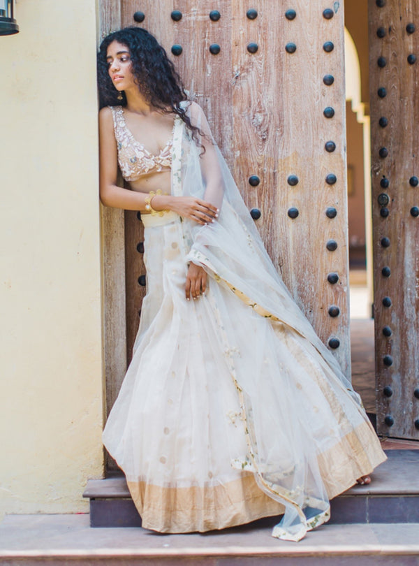The Little Black Bow - Beige & White Lehenga Set With Dupatta - INDIASPOPUP.COM