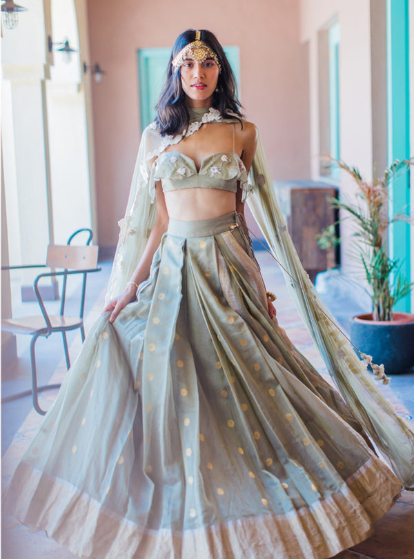 The Little Black Bow - Olive Green Lehenga Blouse With Dupatta - INDIASPOPUP.COM