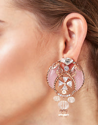 Outhouse-Rose Gold Apolline Tusk Earrings-INDIASPOPUP.COM