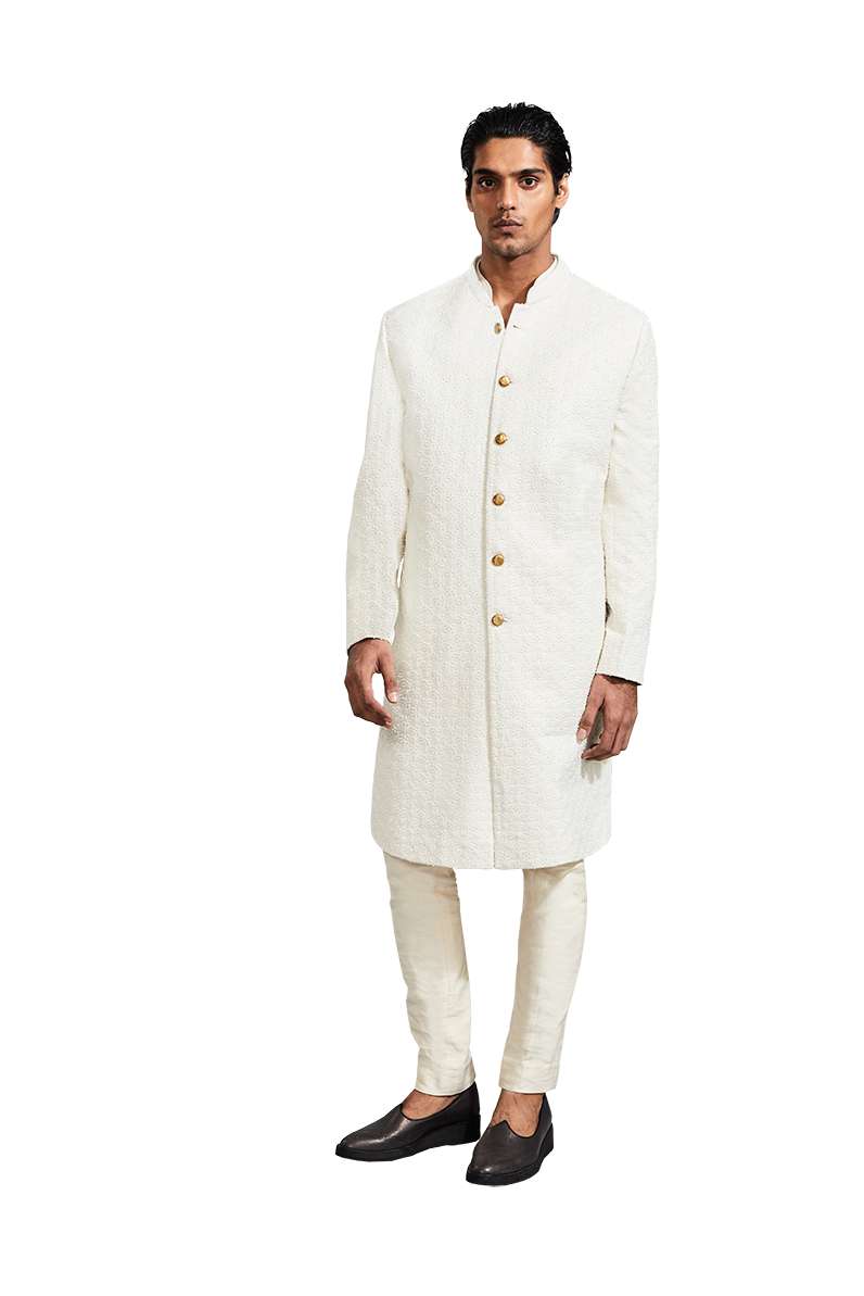 Kunal Rawal-Vanilla Flat Highlighted Jacket-INDIASPOPUP.COM