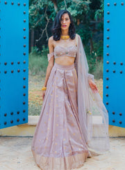 The Little Black Bow - Lilac Lehenga Set With Dupatta - INDIASPOPUP.COM