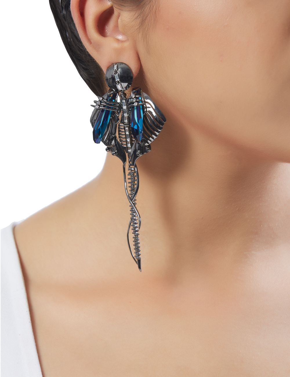 Outhouse - CHRYSALIS GUNMETAL LONG EARRINGS - INDIASPOPUP.COM