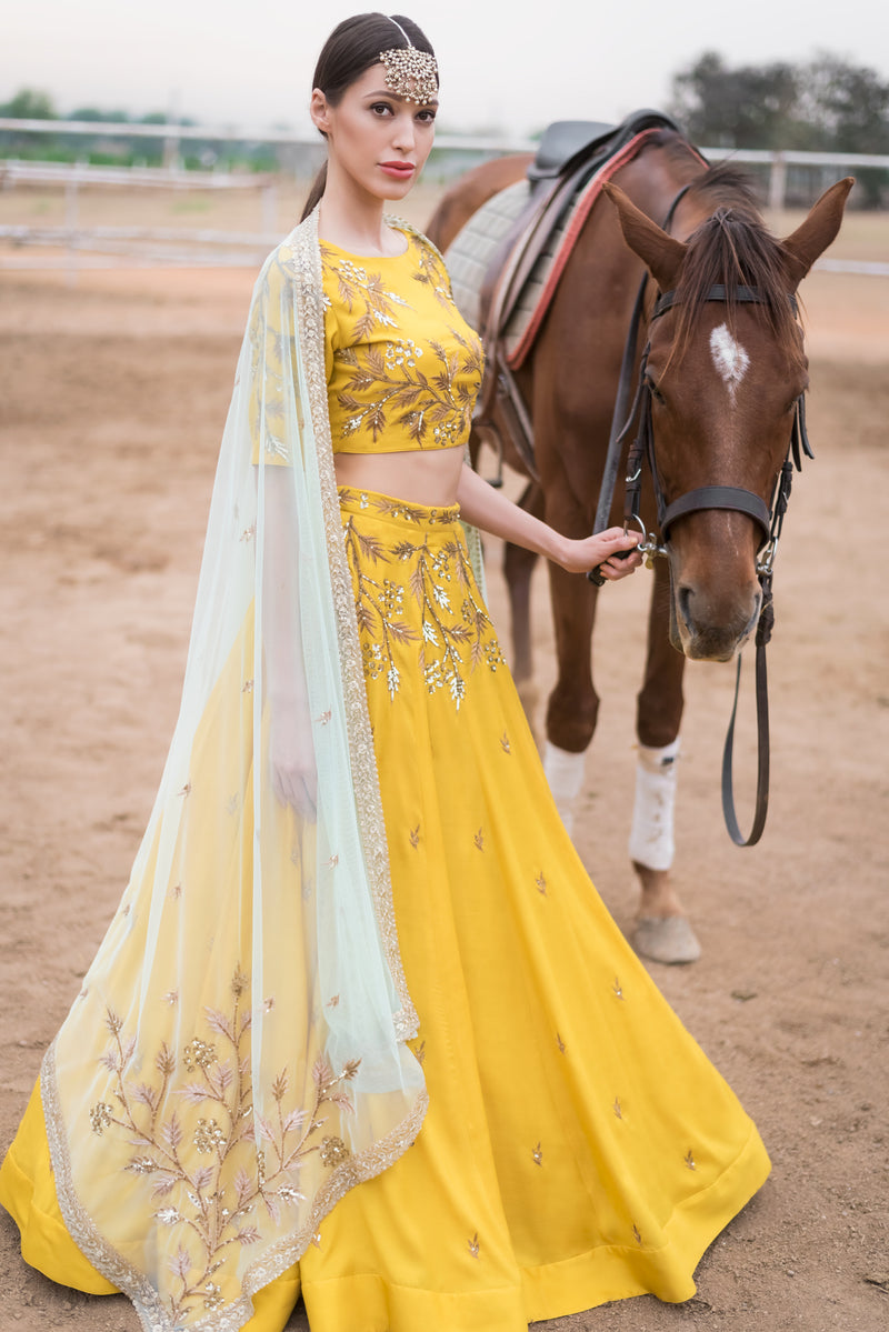 PRATHYUSHA GARIMELLA MUSTARD YELLOW LEHENGA SET WITH DUPATTA