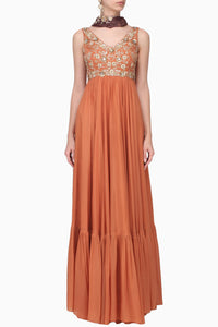 PLEATS BY KAKSHA & DIMPLE ORANGE & BURGUNDY EMBROIDERED ANARKALI SET