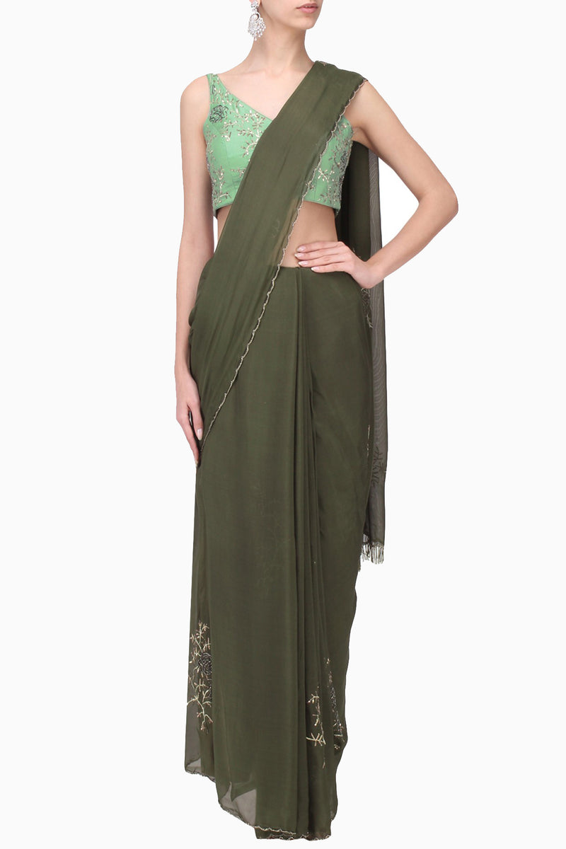 Pleats By Kaksha & Dimple - Olive Green Embroidered Saree With Mint Blouse - INDIASPOPUP.COM
