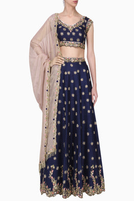 PLEATS BY KAKSHA & DIMPLE ROYAL BLUE EMBROIDERED LEHENGA SET