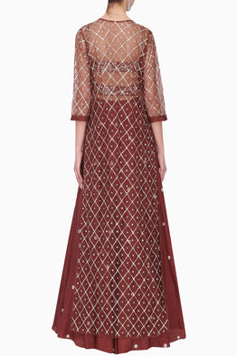 PLEATS BY KAKSHA & DIMPLE BURGUNDY EMBROIDERED LEHENGA WITH BOOTI WORK JACKET