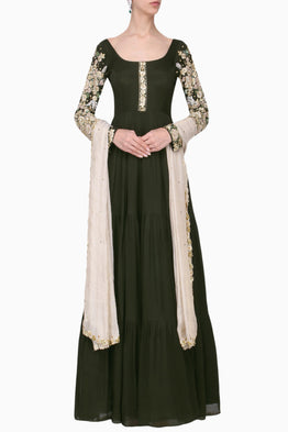 PLEATS BY KAKSHA & DIMPLE OLIVE GREEN & IVORY EMBROIDERED ANARKALI SET