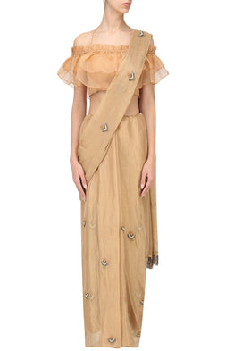 PLEATS BY KAKSHA & DIMPLE GOLD EMBROIDERED SAREE WITH ORANGE BLOUSE