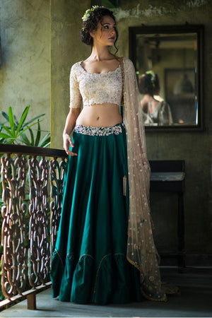 AARBEE BY RAVI BHALOTIA EMERALD GREEN LEHENGA WITH BLOUSE & DUPATTA