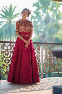 AARBEE BY RAVI BHALOTIA MAROON EMBROIDERED LEHENGA SET