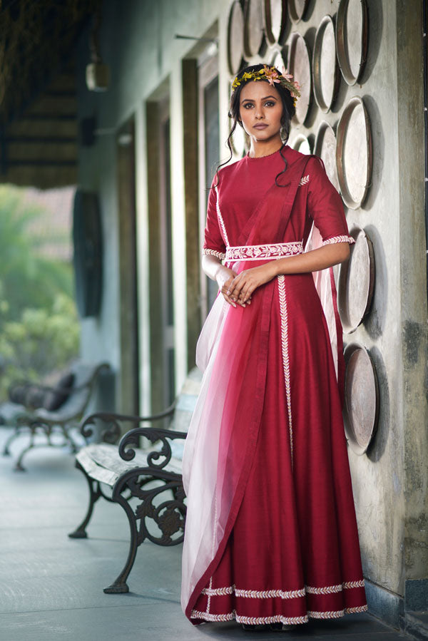 Aarbee By Ravi Bhalotia - Maroon & Pink Drape Gown - INDIASPOPUP.COM