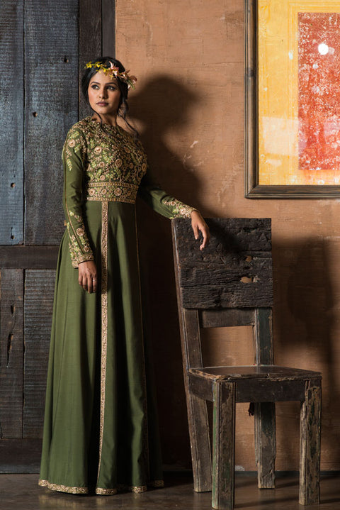 Aarbee By Ravi Bhalotia - Olive Green Embroidered Gown - INDIASPOPUP.COM