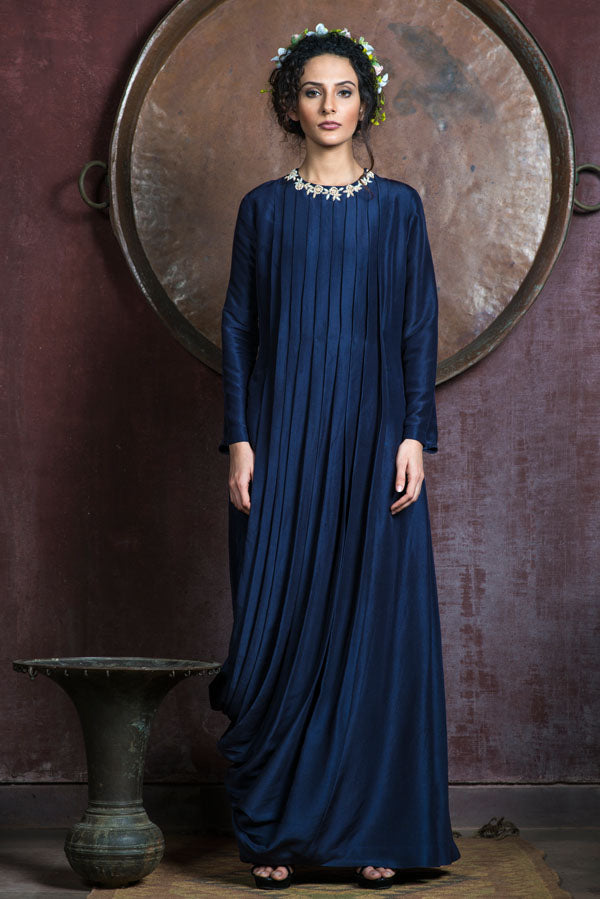 Aarbee By Ravi Bhalotia - Bluish Grey Pleated Embroidered Tunic - INDIASPOPUP.COM