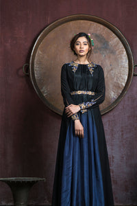 AARBEE BY RAVI BHALOTIA BLACKISH GREY EMBROIDERED GOWN