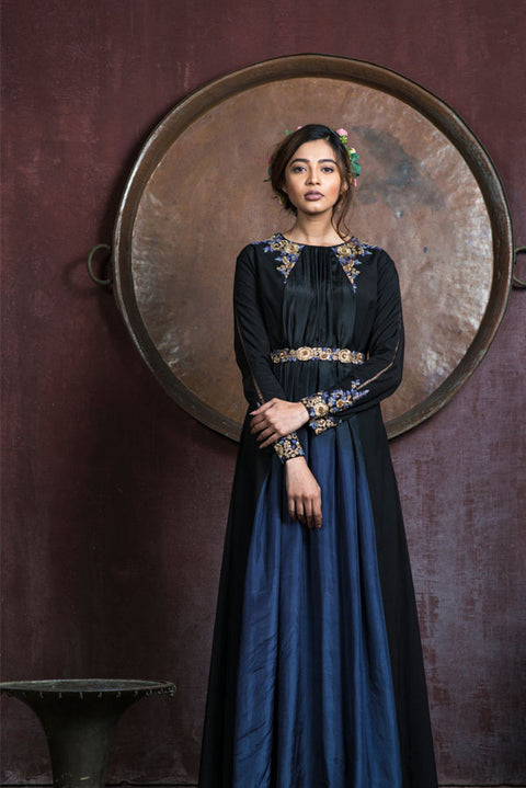 Aarbee By Ravi Bhalotia - Blackish Grey Embroidered Gown - INDIASPOPUP.COM