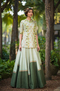 AARBEE BY RAVI BHALOTIA OLIVE GREEN SHORT KURTI WITH LEHENGA