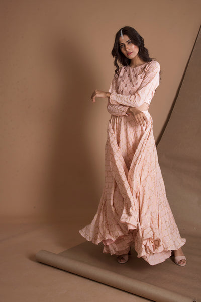 PEACH GOLD PRINTED GOWN
