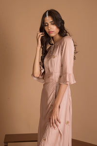 Ruchira Nangalia - Hazelnut High Slit Dress - INDIASPOPUP.COM