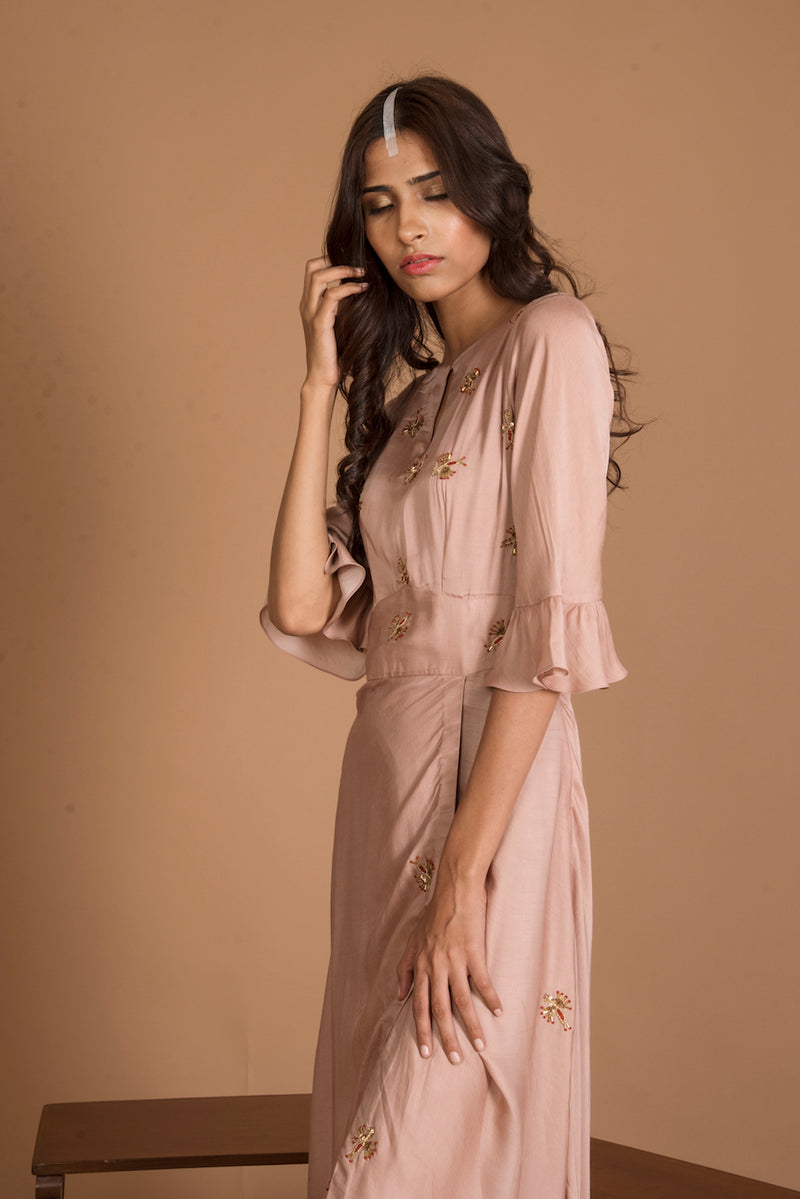 RUCHIRA NANGALIA HAZELNUT HIGH SLIT DRESS