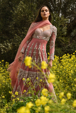 Rose Pink Embroidered Anarkali Set