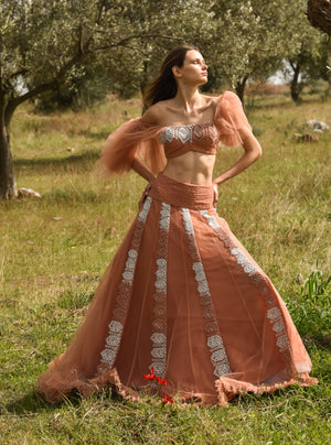 Rozina-Peach Embroidered Ruffle Lehenga Set-INDIASPOPUP.COM
