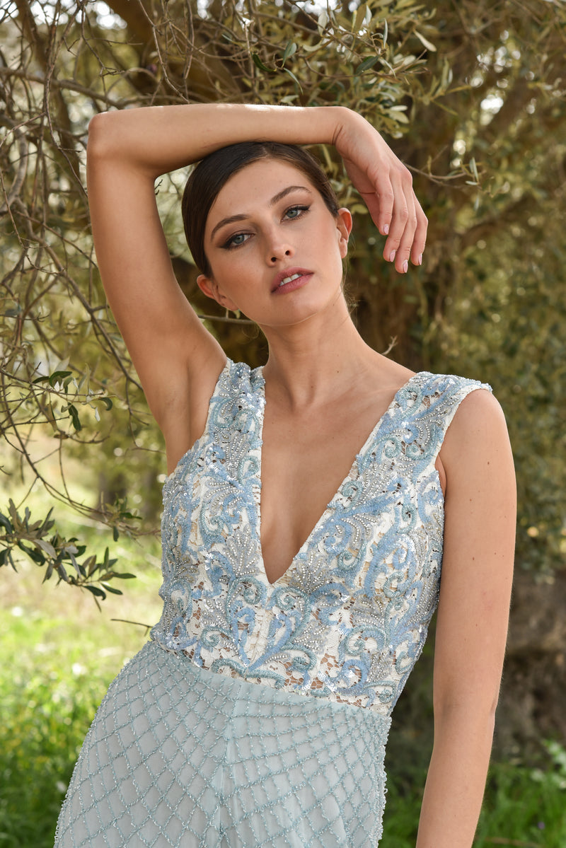 Blue Lace Embroidered Jumpsuit