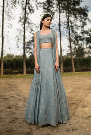 Sana Barreja - Farida Ice Blue Printed Gather Jacket Lehenga - INDIASPOPUP.COM