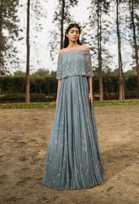 SANA BARREJA ICE BLUE EMBROIDERED OFF SHOULDER CAPE ANARKALI