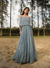 Sana Barreja - Ice Blue Embroidered Off Shoulder Cape Anarkali - INDIASPOPUP.COM