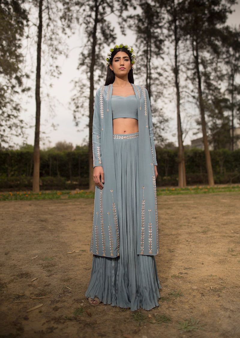 SANA BARREJA ICE BLUE EMBROIDERED JACKET PANTS SET