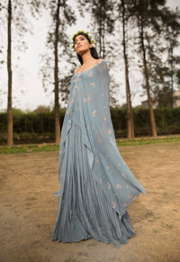 Sana Barreja - Emma Ice Blue Embroidered Printed Cape With Pants - INDIASPOPUP.COM
