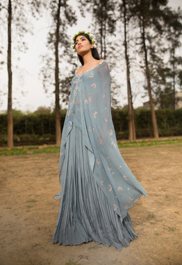 SANA BARREJA EMMA ICE BLUE EMBROIDERED PRINTED CAPE WITH PANTS