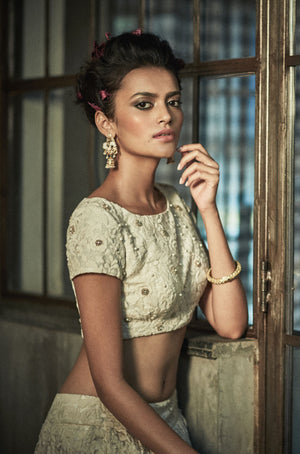 The Little Black Bow - Ivory Crop Choli With Vintage Skirt - INDIASPOPUP.COM