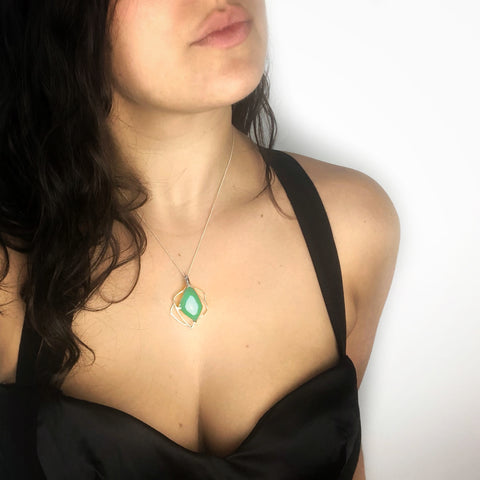 Woman wearing a Sterling Silver Green Agate Necklace
