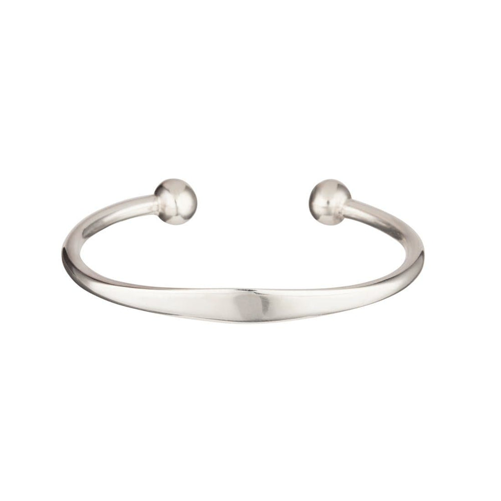 Sterling Silver Solid Identity Torque Bangle