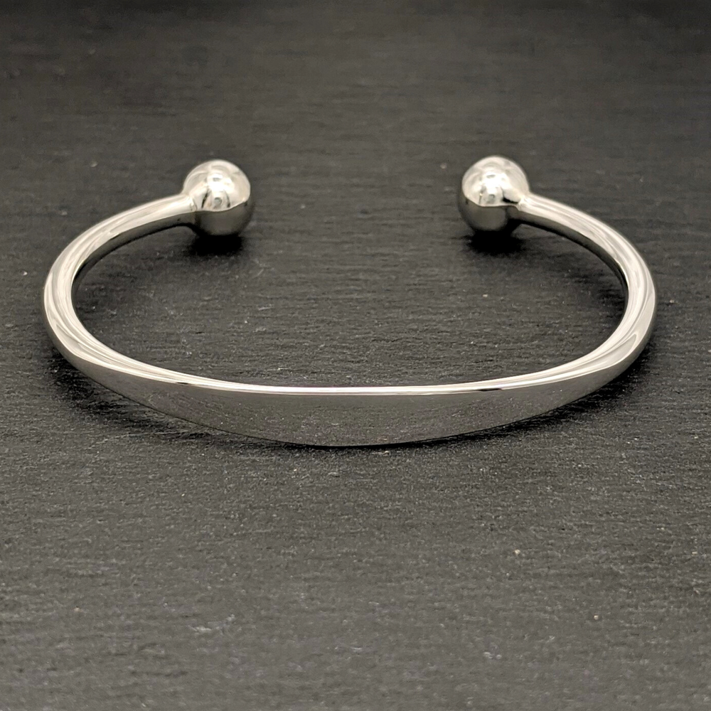 Load image into Gallery viewer, Sterling Silver Solid Identity Torque Bangle