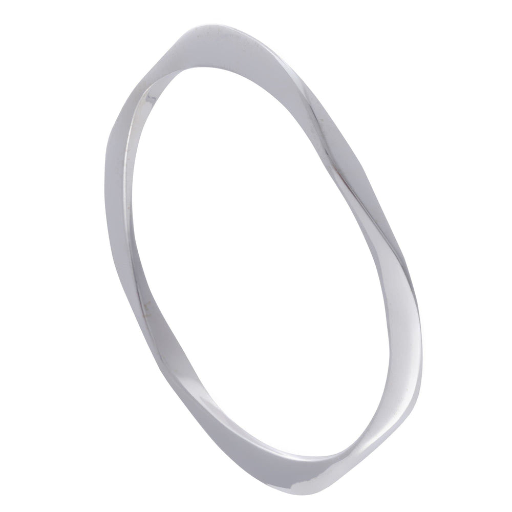 Load image into Gallery viewer, Sterling Silver Rounded Square Wavy Bangle Bracelet