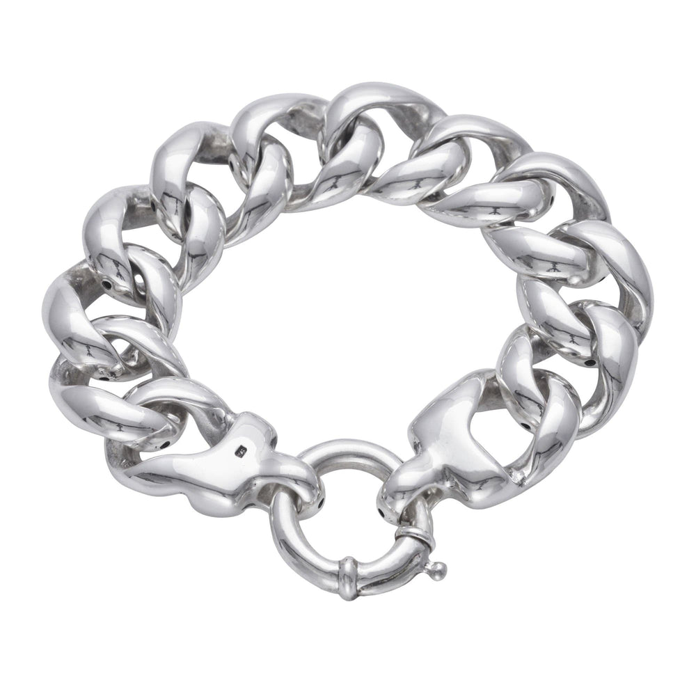 Sterling Silver Chunky Electroform Light Curb Bracelet
