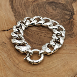 Load image into Gallery viewer, Sterling Silver Chunky Electroform Curb Chain Bracelet
