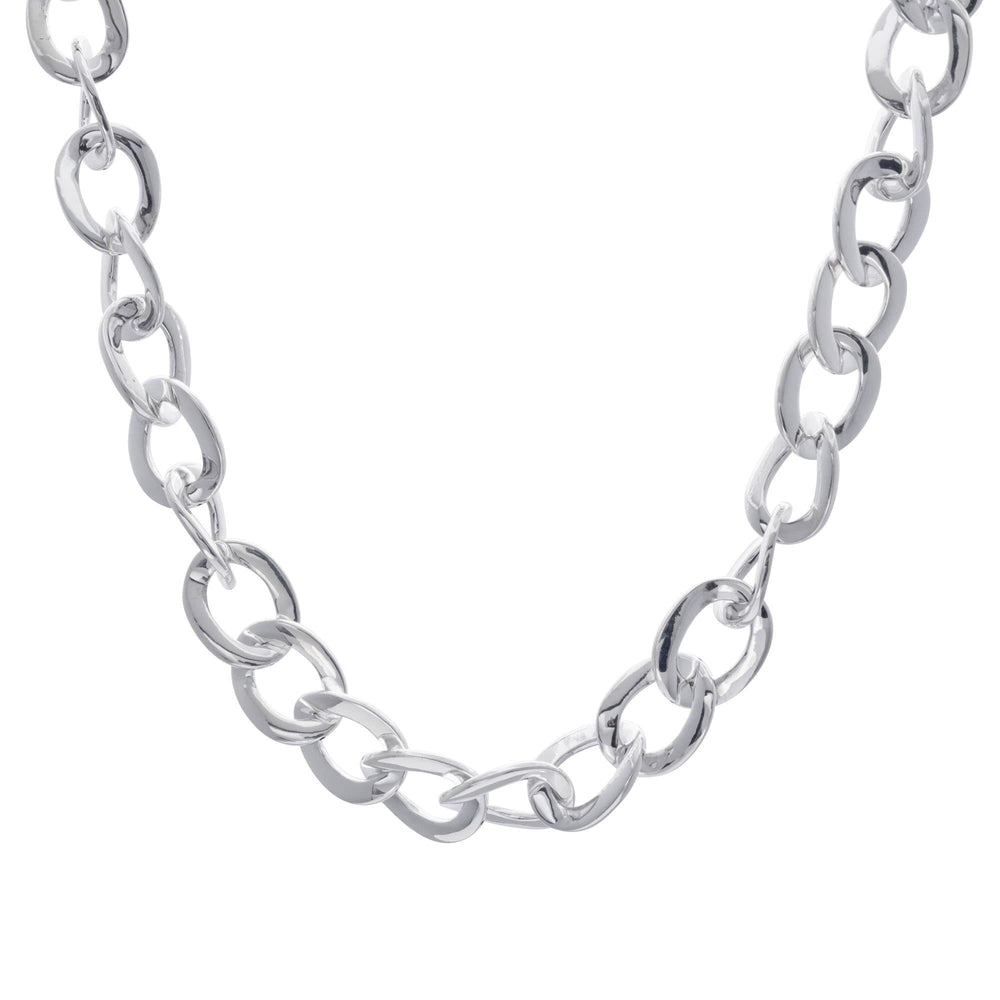 Sterling Silver Wide Electroform Curb Chain Necklace